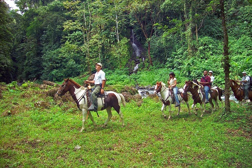 Three people on horseback in the rainforest with a waterfall behind