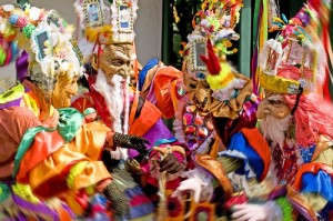 Colourful costumes signifying devils